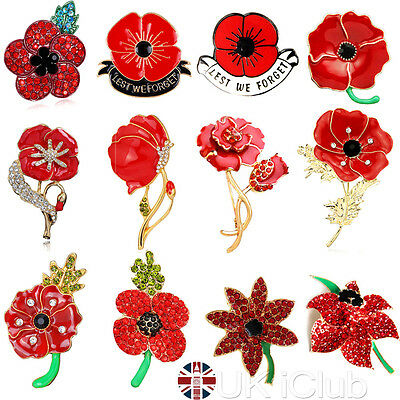 RED FLOWER CRYSTAL Poppy Pin Brooch Broach Badge Banquet Gift Remembrance AU