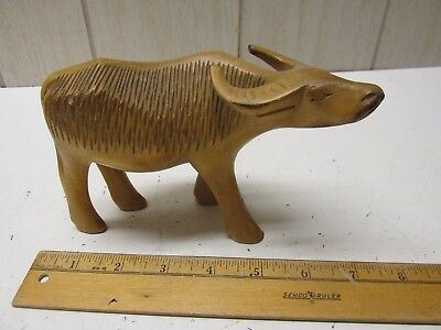 Hand Carved Wood WATER BUFFALO Vintage Very Nice!
