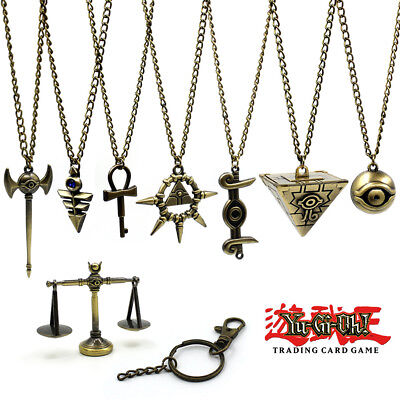 8PCS Yu-Gi-Oh! Bronze Necklace Keychain Cosplay Weapon Pendant In Wood Box Gift