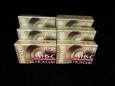 Lot Of 6 Maxell TC-30 VHS-C Premium High Grade HGX-Gold Video Tapes