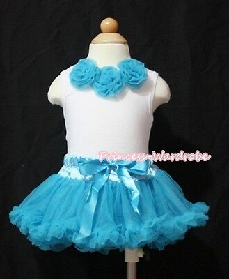 Newborn Baby Turquoise Blue Pettiskirt Skirt Tutu White Top Blue Rose Set 3-12M