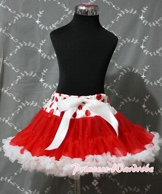 Red White Polka Dots Pettiskirt  Skirt Pageant Dance Dress For Teen Adult 8-10Y