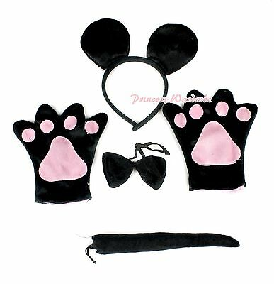 Cute Black Mouse Ear Tail Paws & Claw Gloves 4pc Halloween Unisex Costume Set