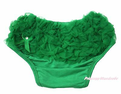 Xmas Infant Toddler Baby Kelly Green Ruffle Bloomer Pantie Brief For skirt 6m-3Y