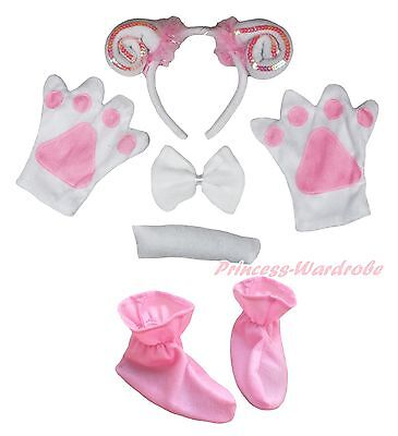 234f84aff3a0 Halloween Pink Goat Sheep Headband Bow Tail Paw Shoes 5p Kid Child Party  Costume