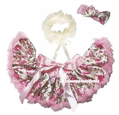 Newborn Baby Girl Light Pink Floral Rose Pettiskirt Tutu Scarf  3PC Set 3-12M