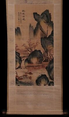 Awesome Long Old Chinese Scroll Hand Painting Landscape Marks HuaYan KK663