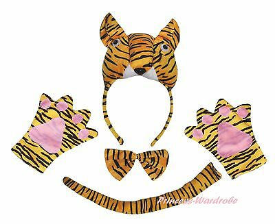 Halloween School Party Yellow 3D Tiger Headband Paw Tail Bow Child Kids Costume