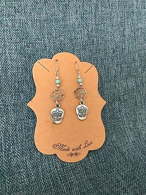 Day of the Dead Earrings Turquoise mini dream catcher silver skuls- Yaqui silver