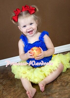 Yellow Pettiskirt Skirt Tutu Royal Blue Ruffles top Set For Newborn Baby 3-12M