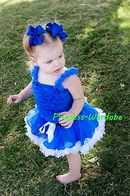 Royal Blue White Pettiskirt Tutu Royal Blue Ruffles top Set 4 Newborn Baby 3-12M