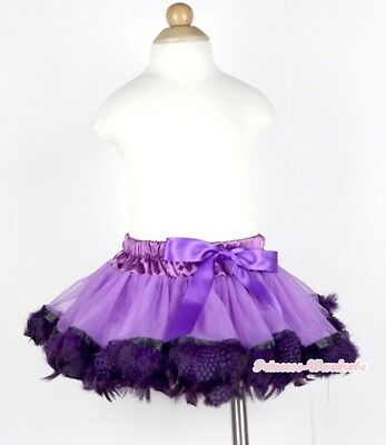 Infant Purple Mix Peacock Feather Newborn Baby Tutu Pettiskirt Skirt Dress NB-2Y