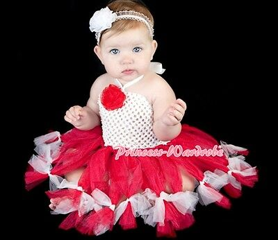 Baby HANDMADE Red White Tied Knotted Tulle Tutu White Crochet Tube Top SET 0-24m