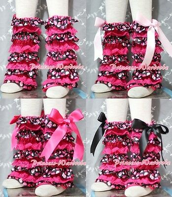 Baby Hot Pink Sweet Heart Lace Leg Warmer Stocking Accessory For Pettiskirt 2-6Y