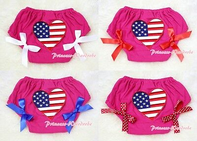 Hot Pink Bloomer Pantie wif Patriotic Heart and Optional Bow 4 Pettiskirt 6m-3Y