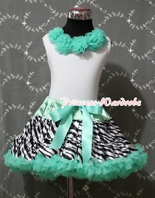 Aqua Blue Zebra Pettiskirt with White Pettitop Aqua Blue Rosettes Girl Set 1-8Y
