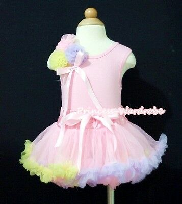 Baby Pink Rainbow Pettiskirt Tutu Dress Pink Top Bunch Matching Rose Set 3-12M