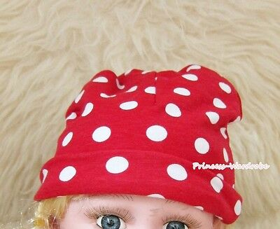 Xmas Cotton Warm Hat Red White Polka Dots Print Beanie Cute Baby Girl Hat Cap