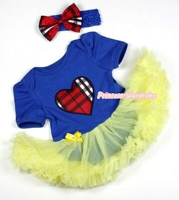 Snow White Royal Blue Plaid Heart Baby Dress Jumpsuit Yellow Skirt NB-12Month