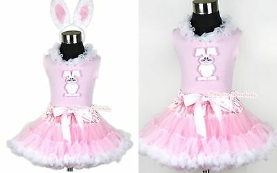 Light Pink White Pettiskirt Lacing Easter Bunny Rabbit Pink Top EAR Set 1-8Year
