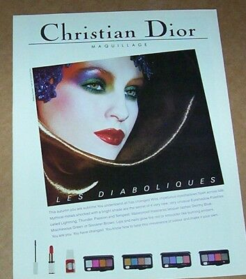 1986 vintage ad - Christian DIOR Make-up cosmetics girl face print Advertising