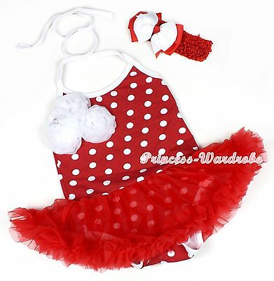 Xmas Red White Minnie Halterneck Rosettes Jumpsuit Romper Red Baby Dress NB-2Y