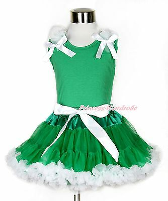 Pure White Ruffles Bows Kelly Green Tank Top Kelly Green White Girl Skirt 1-8Y