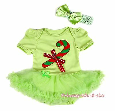 XMAS Candy Cane Lime Green Bodysuit Lime Green Skirt Girl Baby Dress NB-12Month