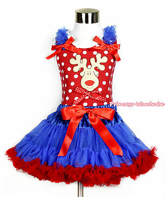 Red White Minnie Dots Top XMAS Reindeer Bow Royal Blue Red Girl Pettiskirt 1-8Y