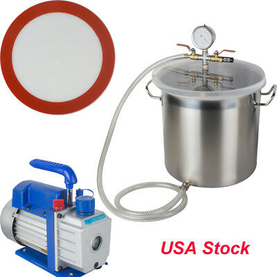 Vacuum Chamber and 3 CFM Single Stage Pump 5 Gallon Degassing Urethane Silicone