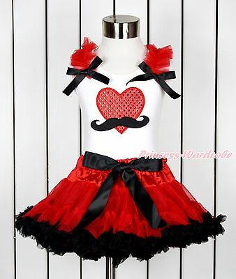 Valentine Sparkle Red Mustache Heart White Top Red Black Girl Pettiskirt 1-8Year