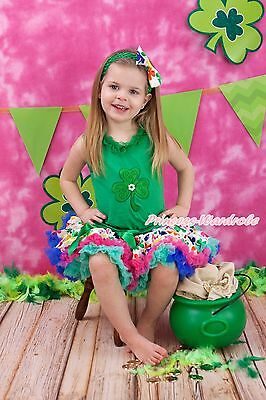 St Patrick Day Green Lacing Top Rainbow Clover Print Pettiskirt Outfit Set 1-8Y