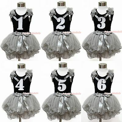 White Sparkle 1ST 2ND 3RD 4TH 5TH 6TH Black Top Girl Gray Petal Skirt Set NB-8Y