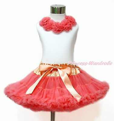 Coral Rosettes White Tank Top Coral Tangerine Baby Girl Pettiskirt Set 1-8Year