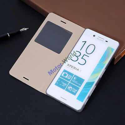 For Sony Xperia X Luxury Flip PU Leather Cover View Window Plastic Case