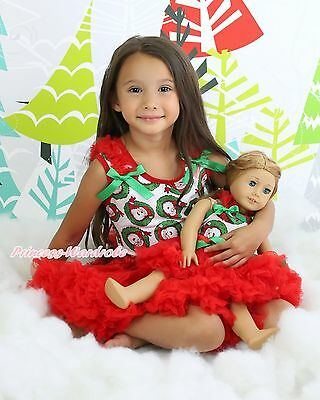 "XMAS Santa Claus Top Red Skirt Baby Girl & 18"" American Doll Outfit Set NB-8Year"