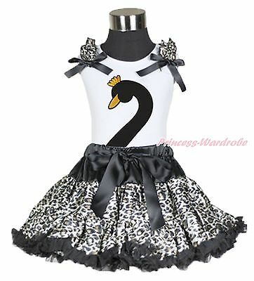 Easter Swan Print Black Pettitop Leopard Pettiskirt Baby Girl Outfit Set 1-8Y