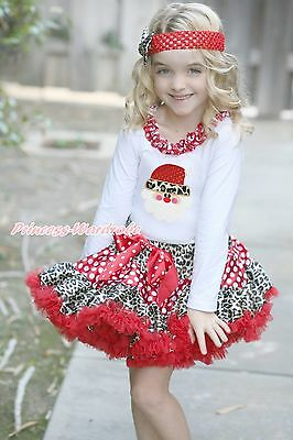 XMAS Santa Claus White Top Baby Girl Minnie Leopard Pettiskirt Set Costume 1-8Y