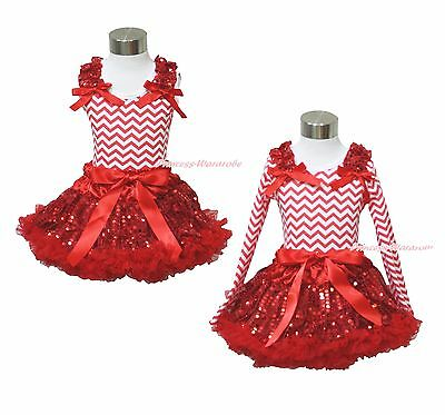 XMAS Plain Ruffler Bow Red White Chevron Top Bling Sequin Skirt Girl Outfit 1-8Y