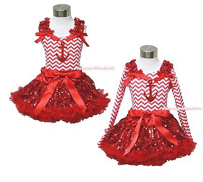 Bling Sailor Anchor Red White Chevron Top Red Sequin Pettiskirt Girl Outfit 1-8Y