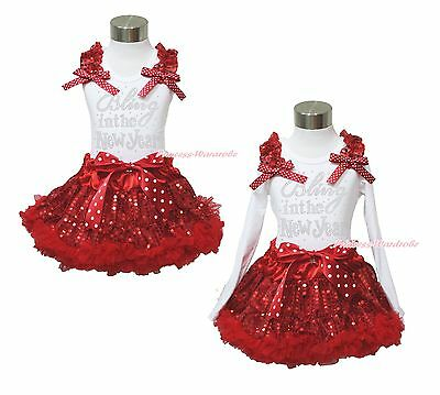 XMAS Rhinestone Bling In New Year White Top Red Sequins Pettiskirt Outfit 1-8Y