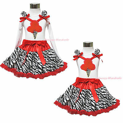 White Top Xmas Zebra Red Ice Cream Pettiskirt Baby Girl Clothing Outfit Set 1-8Y