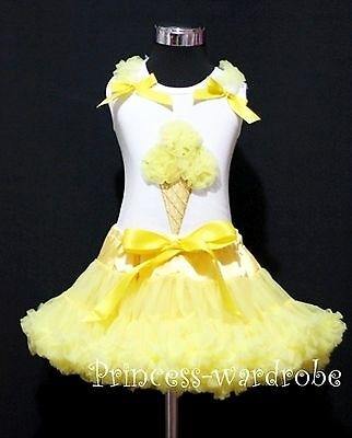 White Top Yellow Ice Cream Pettiskirt Girl Clothing Shirt Skirt Outfit Set 1-8Y