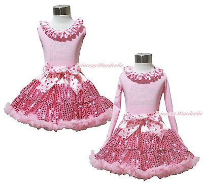 Valentine's Day Rhinestone Born To Wear Diamond Top Bling Pink Sequin Skirt 1-8Y