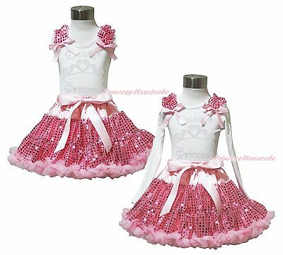Valentine's Day Rhinestone Daddy's Princess Top Pink Sequin Pettiskirt Girl 1-8Y
