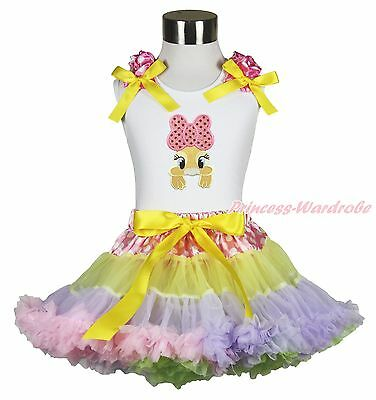 Easter White Top Shirt Pink Bow Bunny Dot Waist Rainbow Girl Pettiskirt Set 1-8Y