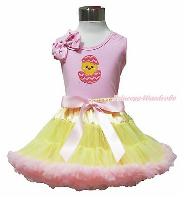 Easter Egg Chick Pink Top Shirt Yellow Pink Baby Girl Pettiskirt Outfit Set 1-8Y