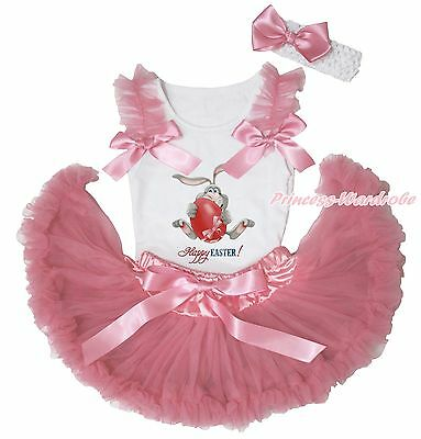 Happy Easter Bunny Egg Painting White Top Dusty Pink Newborn Baby Skirts 3-12M