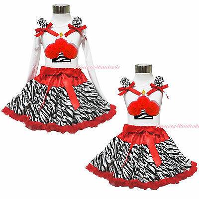 White Top Xmas Zebra Red Birthday Cupcake Pettiskirt Baby Girl Cloth Outfit 1-8Y