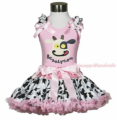 Pink Shirt Top Beauty Milk Cow Cowgirl Dairy Cattle Skirt Girl Cloth Outfit 1-8Y